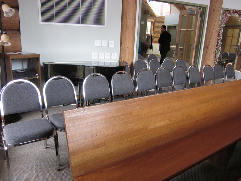 Chairs Set up in Back of Chapel