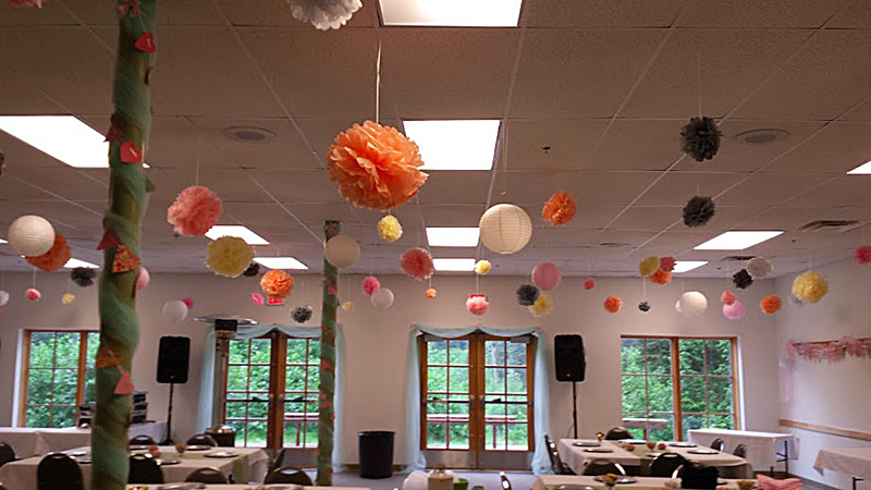 Draped Columns, Hanging Poofs and Balls