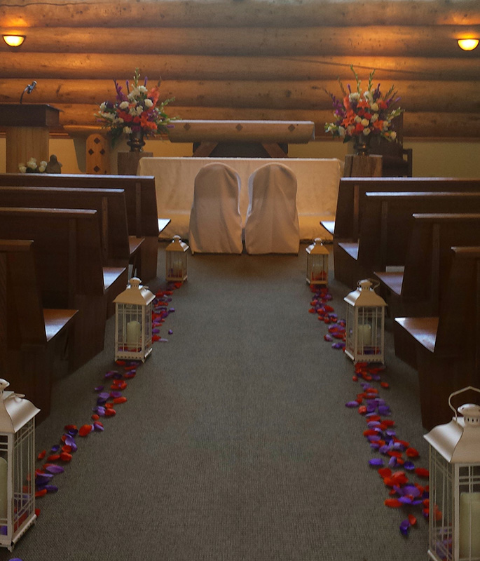 Draped Kneeler and Covered Chairs
