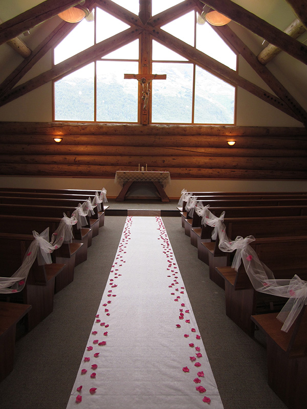 Tulle along ends of Pews